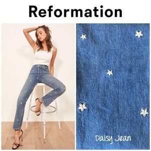 "Reformation ""Cynthia"" daisy embroidered jeans 23"